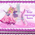 "Edible BARBIE PRINCESS AND THE POPSTAR image cake topper 1/4 sheet (10.5"" x 8"")"