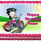 "Edible BETTY BOOP MOTORCYCLE image cake topper 1/4 sheet (10.5"" x 8"")"