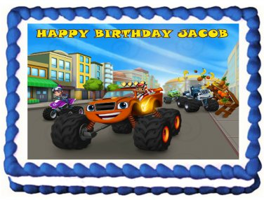 "Edible BLAZE AND THE MONSTER MACHINES image cake topper 1/4 sheet (10.5"" x 8"")"