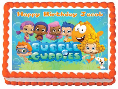 "Edible BUBBLE GUPPIES Party image cake topper 1/4 sheet (10.5"" x 8"")"