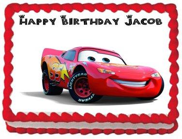 "Edible CARS McQUEEN image cake topper 1/4 sheet (10.5"" x 8"")"