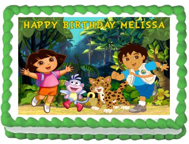 """Edible DORA AND DIEGO image cake topper 1/4 sheet (10.5"""" x 8"""")"""