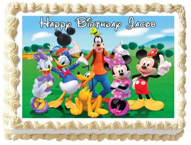 """Edible MICKEY MOUSE CLUB HOUSE image cake topper 1/4 sheet (10.5"""" x 8"""")"""