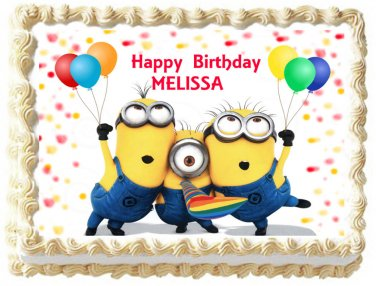 "Edible MINIONS image cake topper 1/4 sheet (10.5"" x 8"")"