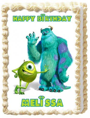 """Edible MONSTER INC Sulley and Mike image cake topper 1/4 sheet (10.5"""" x 8"""")"""