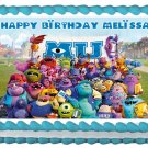 "Edible MONSTER UNIVERSITY Sulley and Mike image cake topper 1/4 sheet (10.5"" x 8"")"