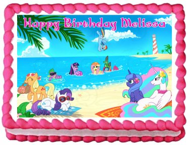 "Edible MY LITTLE PONY beach image cake topper 1/4 sheet (10.5"" x 8"")"