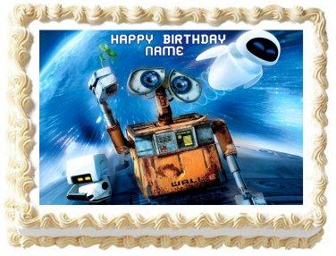"Edible WALL-E AND EVE image cake topper 1/4 sheet (10.5"" x 8"")"