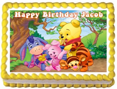 """Edible BABY WINNIE THE POOH image cake topper 1/4 sheet (10.5"""" x 8"""")"""