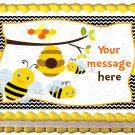 "Edible BUMBLEBEE image cake topper 1/4 sheet (10.5"" x 8"")"