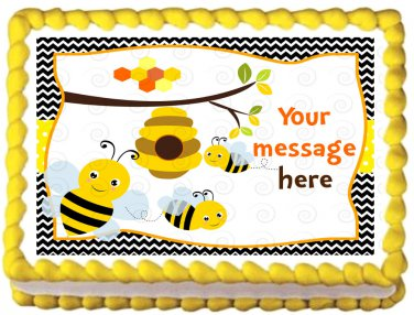 "Edible BUMBLEBEE image cake topper 1/4 sheet (10.5"" x 8"")"