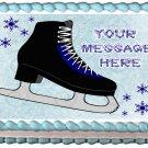 "Edible BLACK ICE SKATES image cake topper 1/4 sheet (10.5"" x 8"")"
