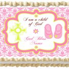 "Edible GIRL BAPTISM image cake topper 1/4 sheet (10.5"" x 8"")"
