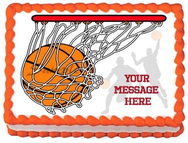 "Edible BASKETBALL image cake topper 1/4 sheet (10.5"" x 8"")"