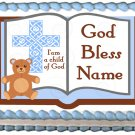 "Edible BOY BAPTISM BIBLE image cake topper 1/4 sheet (10.5"" x 8"")"
