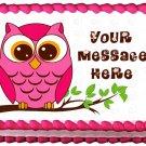 "Edible PINK OWL IN BRANCH image cake topper 1/4 sheet (10.5"" x 8"")"