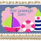 "Edible GIRL NAUTICAL SAILBOAT image cake topper 1/4 sheet (10.5"" x 8"")"