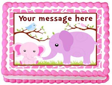 "Edible GIRLS ELEPHANTS image cake topper 1/4 sheet (10.5"" x 8"")"