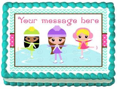 """Edible ICE SKATING GIRLS image cake topper 1/4 sheet (10.5"""" x 8"""")"""
