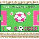 """Edible GIRLS SOCCER BALL image cake topper 1/4 sheet (10.5"""" x 8"""")"""
