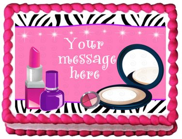 "Edible MAKE UP Ladies image cake Topper 1/4 sheet (10.5"" x 8"")"