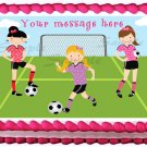 "Edible GIRLS SOCCER PLAYERS image cake Topper 1/4 sheet (10.5"" x 8"")"