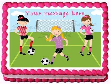 "Edible GIRLS SOCCER PLAYERS image cake Topper 1/4 sheet (10.5"" x 8"")"