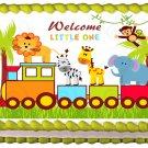 "Edible TRAIN SAFARI ANIMALS image cake Topper 1/4 sheet (10.5"" x 8"")"