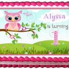 "Edible PINK OWL 1st year image cake Topper 1/4 sheet (10.5"" x 8"")"