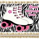"""Edible ZEBRA WHITE ROLLER SKATES image cake Topper 1/4 sheet (10.5"""" x 8"""")"""
