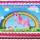 "Edible PINK UNICORN image cake Topper 1/4 sheet (10.5"" x 8"")"