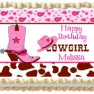 """Edible PINK COWGIRL BOOTS image cake Topper 1/4 sheet (10.5"""" x 8"""")"""