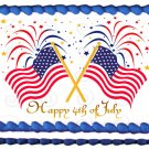 "Edible USA FLAGS FIREWORKS image cake Topper 1/4 sheet (10.5"" x 8"")"
