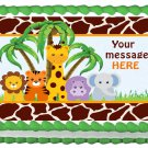 "Edible BABY ANIMALS SAFARI image cake Topper 1/4 sheet (10.5"" x 8"")"
