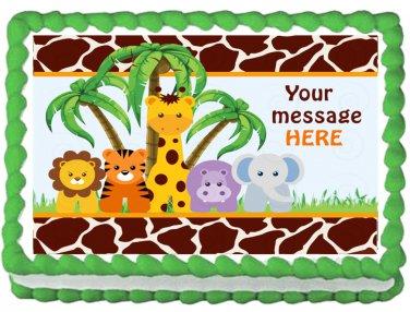 """Edible BABY ANIMALS SAFARI image cake Topper 1/4 sheet (10.5"""" x 8"""")"""