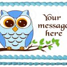 "Edible BLUE OWL ON THE BRANCH image cake Topper 1/4 sheet (10.5"" x 8"")"