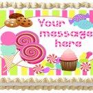 "Edible CANDY LOLLIPOPS image cake Topper 1/4 sheet (10.5"" x 8"")"