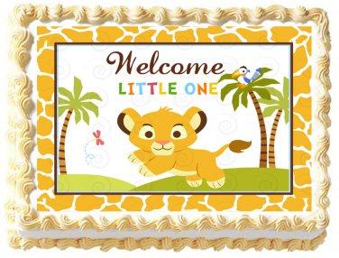 "Edible BABY LION image cake topper 1/4 sheet (10.5"" x 8"")"
