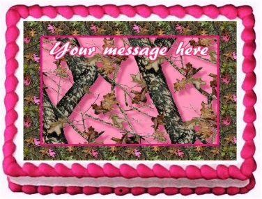 "Edible PINK CAMO image cake topper 1/4 sheet (10.5"" x 8"")"