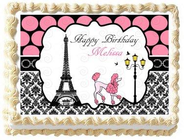 "Edible Eiffel Tower PARIS image cake topper 1/4 sheet (10.5"" x 8"")"
