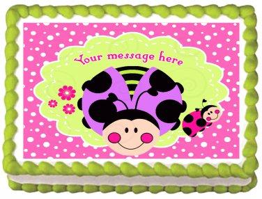 "Edible PINK LADY BUG image cake Topper 1/4 sheet (10.5"" x 8"")"