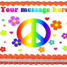 "Edible FLOWERS PEACE SIGN image cake Topper 1/4 sheet (10.5"" x 8"")"