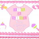 "Edible BABY GIRL ONESIE  image cake Topper 1/4 sheet (10.5"" x 8"")"