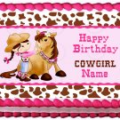 "Edible COWGIRL Horse image cake Topper 1/4 sheet (10.5"" x 8"")"