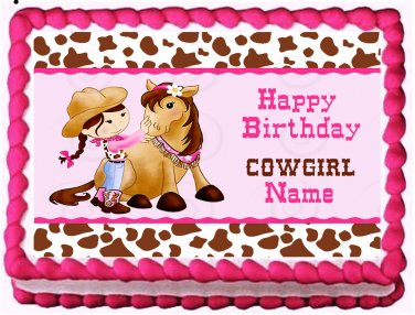"""Edible COWGIRL Horse image cake Topper 1/4 sheet (10.5"""" x 8"""")"""