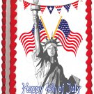 "Edible LIBERTY STATUE image cake Topper 1/4 sheet (10.5"" x 8"")"