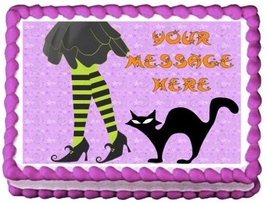 """Edible WITCH LEGS Halloween image cake Topper 1/4 sheet (10.5"""" x 8"""")"""