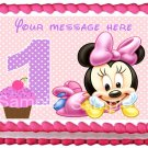 """Edible BABY MINNIE 1st year image cake Topper 1/4 sheet (10.5"""" x 8"""")"""