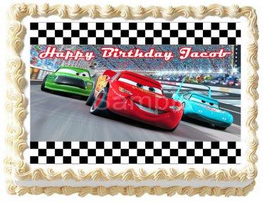 """Edible CARS MACQUEEN RACE image cake Topper 1/4 sheet (10.5"""" x 8"""")"""