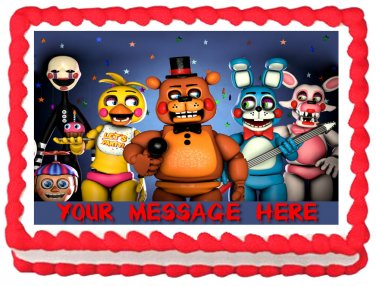 """Edible FIVE NIGHTS AT FREDDY'S image cake Topper 1/4 sheet (10.5"""" x 8"""")"""